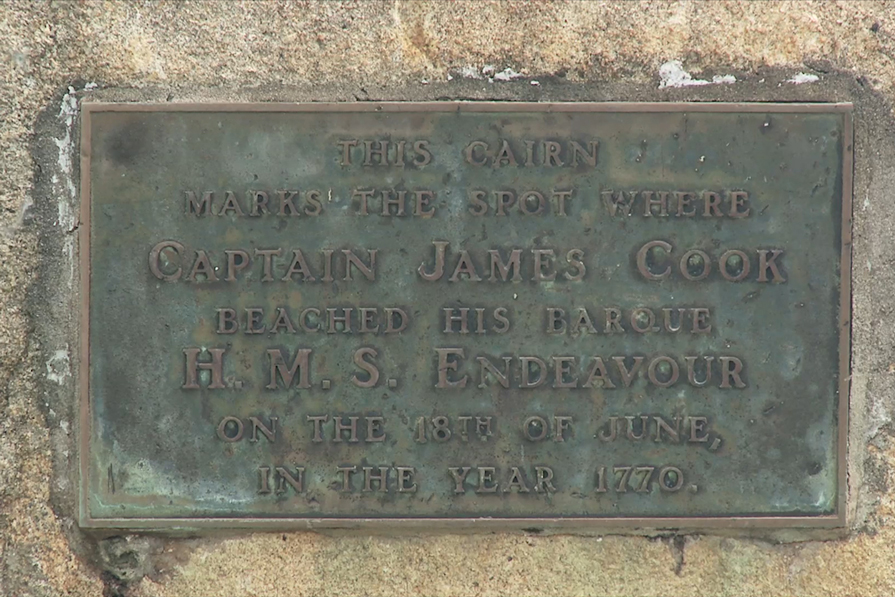 Close-up of A Monument marking the spot where the H.M.S Endeavour was beached